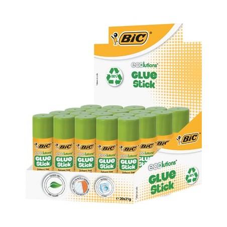Bic - 20 bâtons de colle sans solvant Glue Stick Ecolutions - 21 g