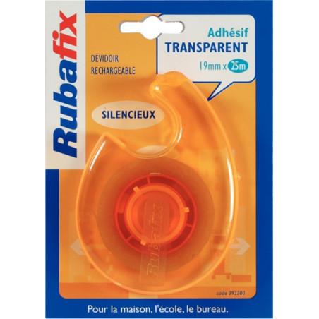Rubafix - Ruban adhésif + dévidoir - Transparent