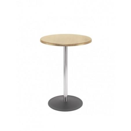 Table haute ronde en acier Lena - H 110 cm - Hêtre clair